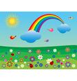 Flower meadow with a rainbow vector