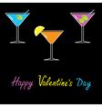 Martini set black background happy valentines day vector