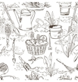Seamless sketch with gardening tools vector