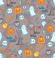Halloween doodle pattern in color vector