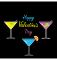 Martini glasses set happy valentines day card vector