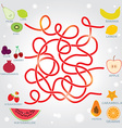 Fruit labyrinth game for preschool children vector