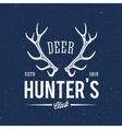 Deer hunters club abstract vintage label or logo vector