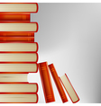 Pile of books in an orange cover on gray backgroun vector