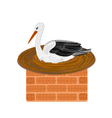 Stork-and-nest-on-a-chimney vector