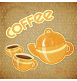 Two coffee cups and coffee pot vector