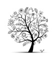 Art floral tree black for your design vector