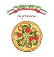 Beautiful of italian pizza vegetariana vector