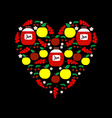 Heart from fruits and jars with jam apples cherry vector