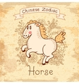 Vintage card with chinese zodiac - horse vector