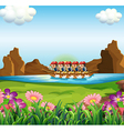 A group of men boating vector