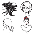 Faces women monochrome vector