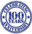 Celebrating 100 years anniversary grunge rubber s vector
