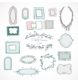 Collection of doodle frames for wedding vector