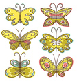 Six hand draw butterflies vector