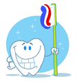 Happy smiling tooth with toothbrush vector