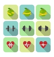 Fitness sport exercises progress icons set vector