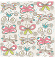 Pattern of hand draw butterflies vector