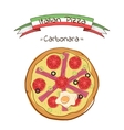 Beautiful of italian pizza carbonara vector