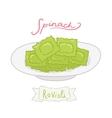 Cartoon hand drawn spinach ravioli vector
