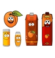 Cartooned apricot juice with glasses and apricot vector