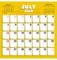 July month calendar 2015 vector
