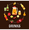 Beverages and drinks flat composition vector