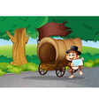 A monkey at the street standing beside the wagon vector