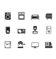 Silhouette home electronics and equipment icons vector