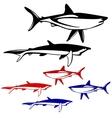 Set shark black and white outline vector