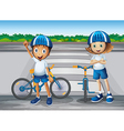 A girl and a boy with their bikes standing near vector