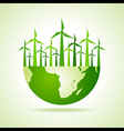 Ecology concept - earth with wind mill vector