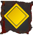 Rhombus yellow sign over rusty background vector