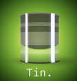 A silver tin can on a green background vector