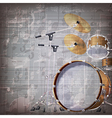 Abstract grunge gray music background with drum vector
