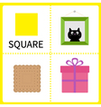 Learning square form frame picture gift box vector
