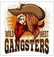 Gangster in retro scratch background vector