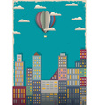 Town and air balloon vector