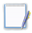 Pen and notepad vector