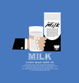 Hand holding a glass of milk vector