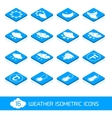 Weather isometric icons white and blue vector