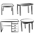 With a set of furniture vector