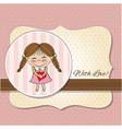 Funny girl with hearts doodle cartoon character vector