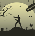 Man with claws on upland on halloween vector
