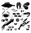 Seafood icons vector