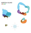 Abstract color map of norfolk island vector