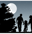 Family walks with children in the evening a vector