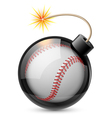 Abstract baseball shaped like a bomb vector