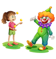 A clown and a young girl vector