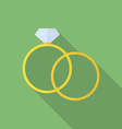 Simple ring and ring with diamond or jewel flat vector